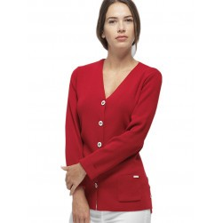 Gilet col V Elen long - Rouge