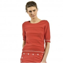 Pull manches courtes femme Tercia rouge
