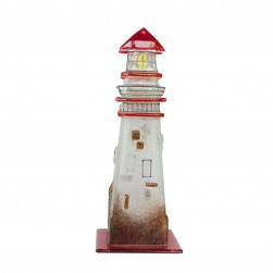 Phare en verre photophore rouge