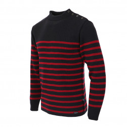 Pull marin national mixte - Marine et rouge